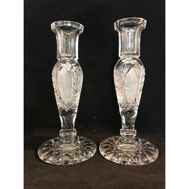 Transparent Vintage Large Cut Crystal Candlesticks - a Pair For Sale - Image 8 of 8