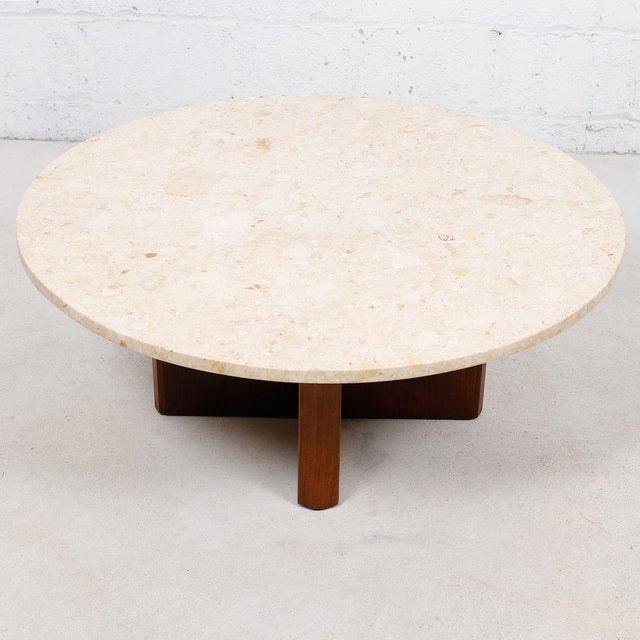 """Travertine Marble Top Coffee Table with """"X"""" Base - Image 5 of 9"""