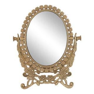 Vintage Brass Tabletop Vanity Mirror For Sale