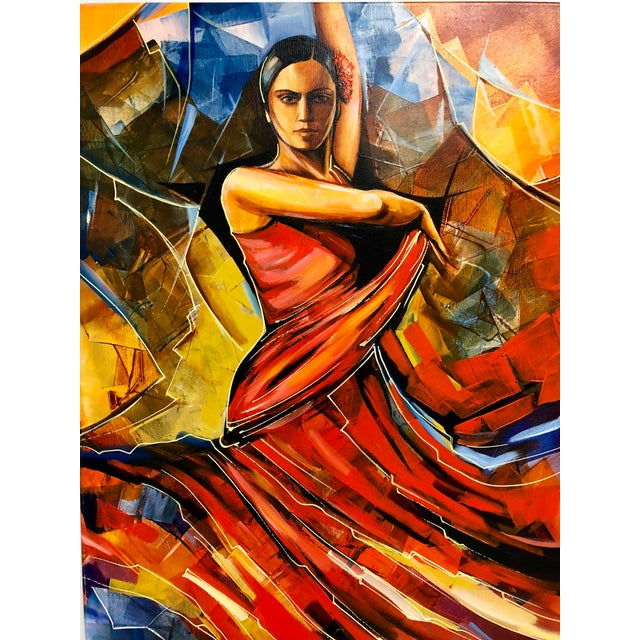 "Black Original Galya Bukova ""Flamenco"" Acrylic Painting For Sale - Image 8 of 8"