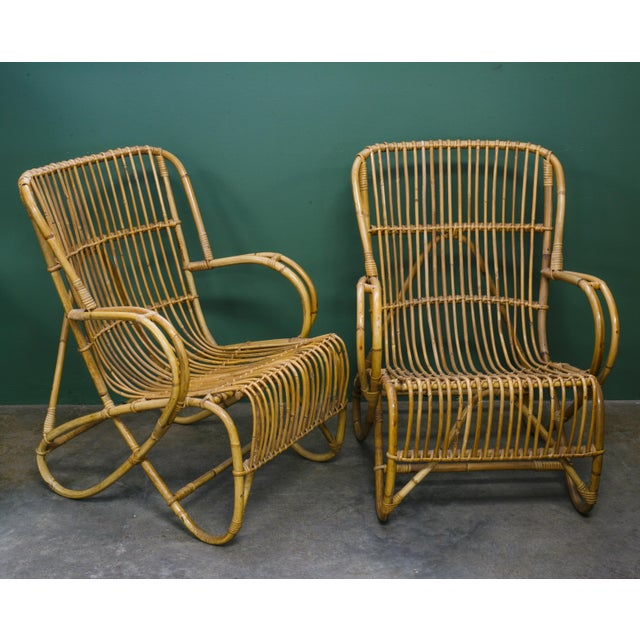 Rohe Noordwolde Rohe Noordwolde Mid-Century Rattan and Bamboo Lounge Chairs - a Pair For Sale - Image 4 of 4