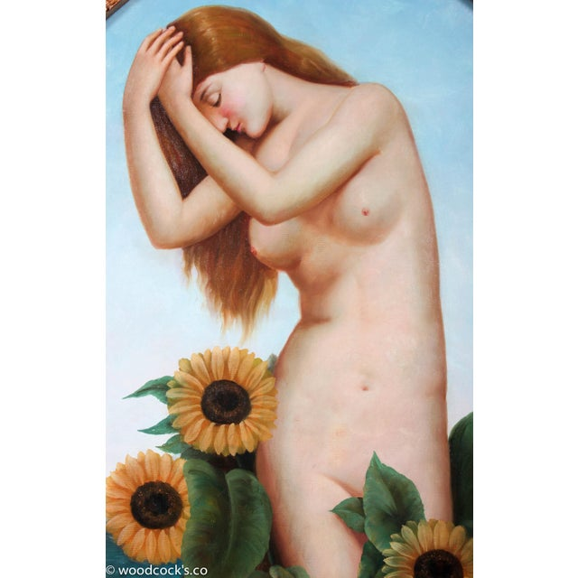 Art Nouveau Nude With Sunflowers For Sale - Image 5 of 8