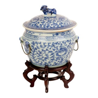 Qing Lidded Foo Dog Cache Pot For Sale
