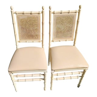 A Pair Vintage Stakmore Off White Faux Bamboo Folding Chairs For Sale