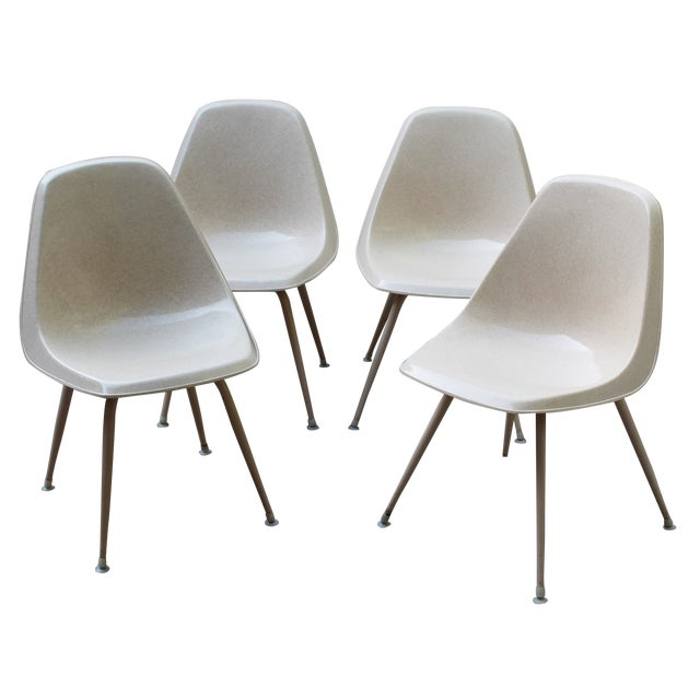 Mid-Century Cream Bucket Chairs - Set of 4 - Image 1 of 5