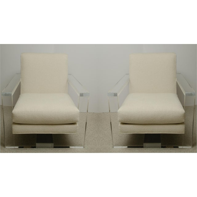 Plastic Pair of Milo Baughman Style Lucite Arm Chairs For Sale - Image 7 of 7