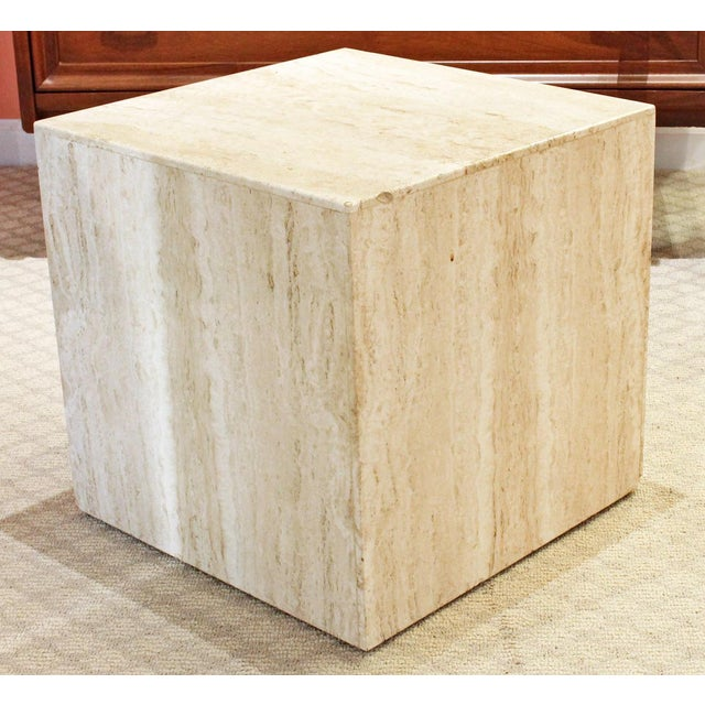 Mid 20th Century Mid-Century Modern Travertine Marble Cube Table For Sale - Image 5 of 5