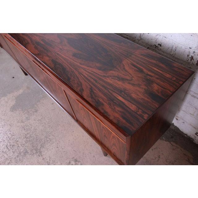 Danish Modern Rosewood Sideboard Credenza, Newly Refinished For Sale - Image 9 of 12