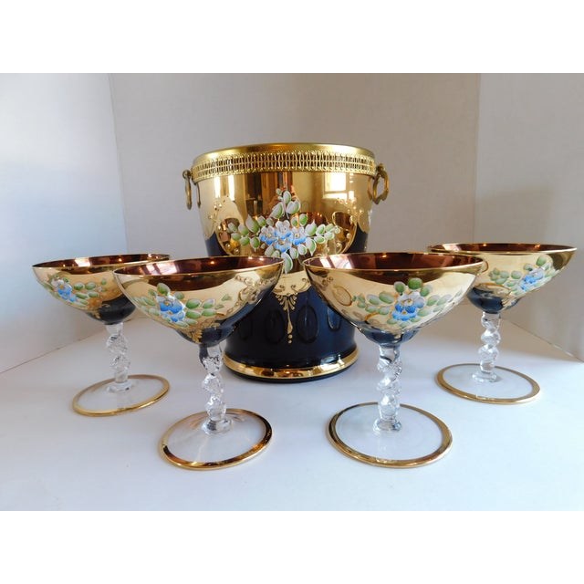 Vintage Amethyst Bohemian Glass Ice Bucket and Champagne Coupes - Set of 5 For Sale - Image 13 of 13