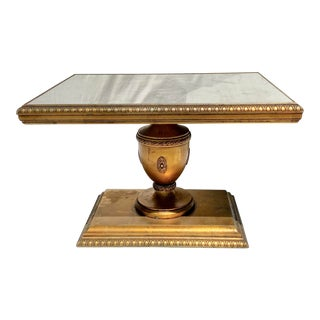 Vintage Hollywood Regency Gold Mirrored Pedistal End Tables - a Pair For Sale