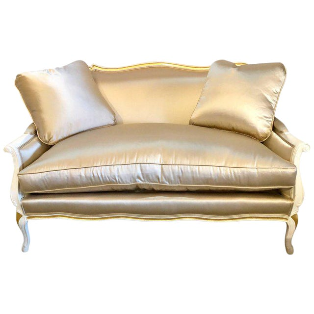 Gilt and Paint Decorated Settee / Loveseat in a Fine Satin Upholstery For Sale