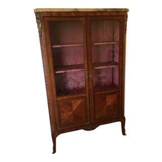Antique French Louis XV Style Kingwood Marble Top Vitrine For Sale