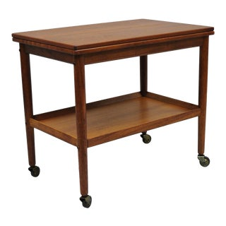1960s Mid-Century Modern Grete Jalk Expandable Teak Serving Bar Cart
