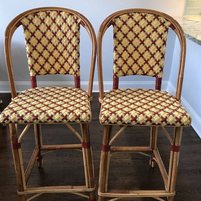 Farmhouse Maison Drucker French Bistro Bar Stools - A Pair For Sale - Image 3 of 8