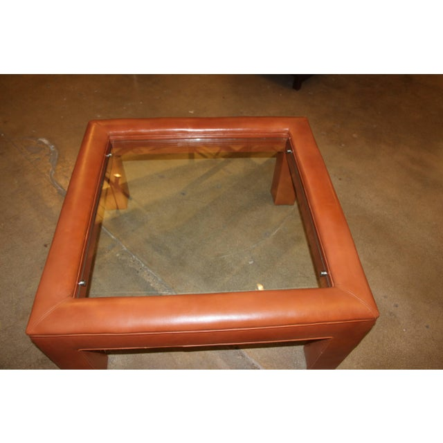 Leather Leather Wrapped Coffee Table With Glass Insert For Sale - Image 7 of 10