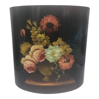 Vintage Handpainted Waste Basket For Sale