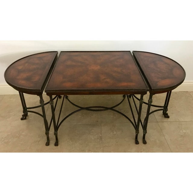 Vintage Traditional 3 Piece Bronze and Burled Wood Coffee Side Table Set - 3 Pieces For Sale - Image 10 of 10