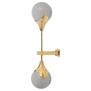 1 of 8 Murano Glass and Brass Sconce or Wall Lamp Attributed to Stilnovo For Sale