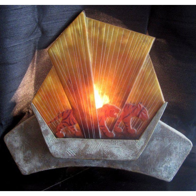 Gabriel Argy-Rousseau Pate De Verre Glass Lighted Wall Plaque For Sale In Los Angeles - Image 6 of 7