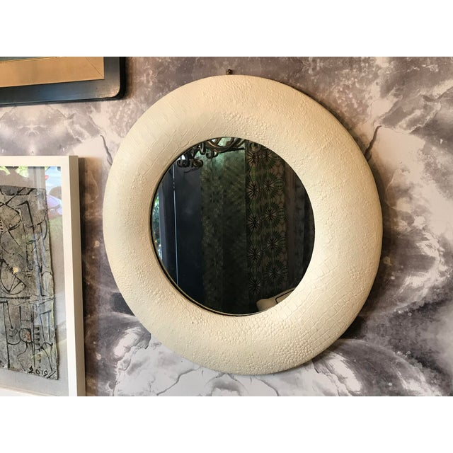 Modern Off White Embossed Leather Round Mirror For Sale - Image 3 of 7