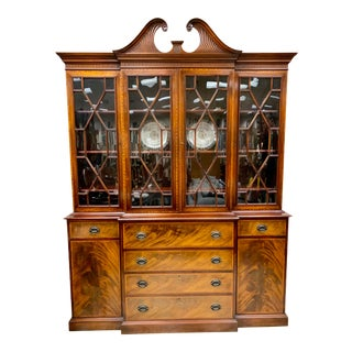 Chippendale Flame Mahogany China Cabinet Breakfront For Sale