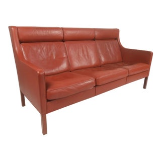 Mid-Century Modern Børge Mogensen Leather Sofa For Sale