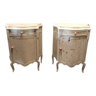 1970's Vintage Cream Side Tables- A Pair For Sale