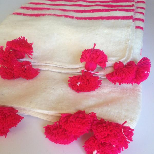 Pink Striped Moroccan Blanket with Tassels - Image 3 of 3