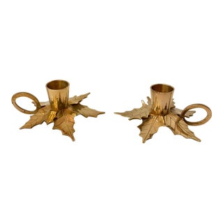 Vintage Brass Poinsettia Candle Holders - a Pair For Sale