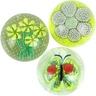 Toso Murano Italian Butterfly Mosaic Millefiori Flower Art Glass Paperweights - Set of 3 For Sale