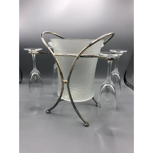 Mid-Century Glass & Chrome Caddy Ice Bucket With Champagne Glasses - 5 Pc. Set For Sale - Image 9 of 9