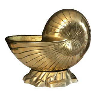 Vintage Solid Brass Nautilus Shell Planter Vase For Sale