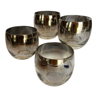 Dorothy Thorpe Silver Fade Roly Poly Cocktail Glasses - Set of 4 For Sale