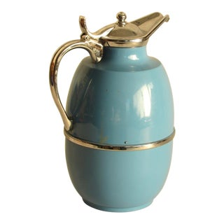1950s Blue Mid-Century Modern Peacock Vacuum Thermos Pitcher For Sale