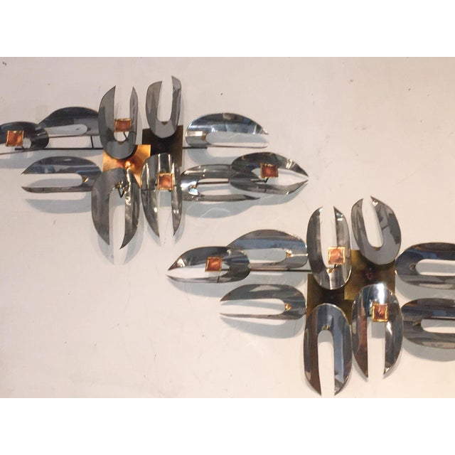 C. Jere Chrome & Brass Wall Sculptures - A Pair - Image 3 of 6