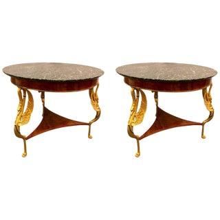 19th-20th Century Marble-Top Gilt Swan Tables - a Pair