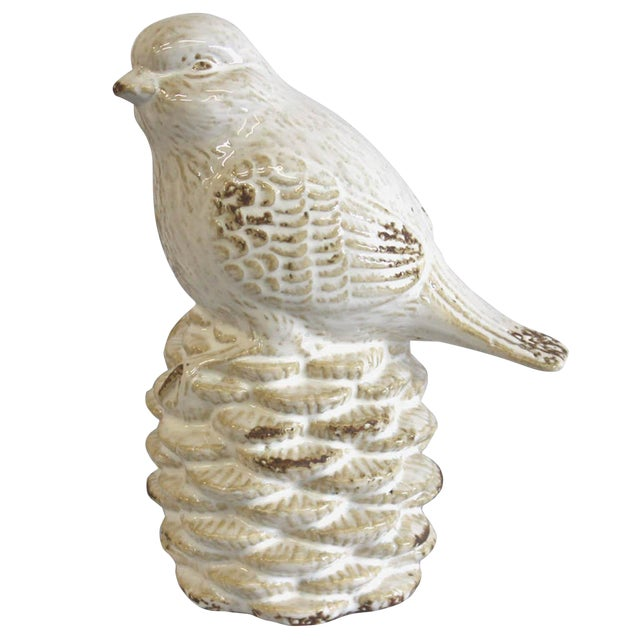 White Bird on a Pine Cone Figurine - Image 1 of 4
