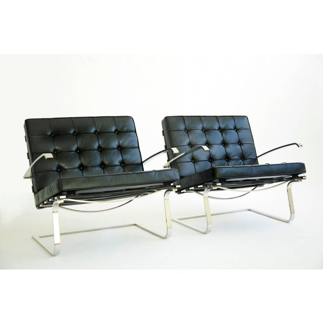 MVR pair of Tugendhat lounges, cantilevered design seat and arms restored to original specs with new straps and tufted...