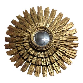 Italian Gold Giltwood Sunburst Mirror For Sale