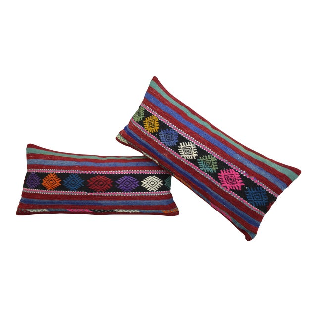 Vintage Turkish Kilim Lumbar Pillow Covers - A Pair For Sale