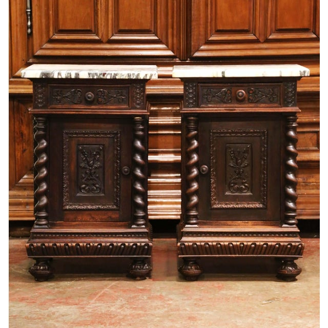 Complete a bedroom with this elegant pair of antique bedside tables. Crafted in France circa 1880 and almost square in...