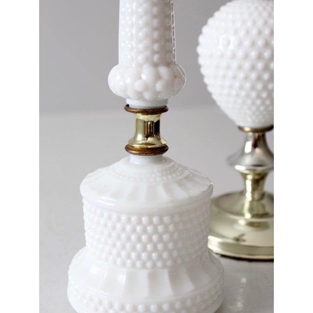 Vintage Milk Glass Hobnail Table Lamps - a Pair For Sale - Image 5 of 8