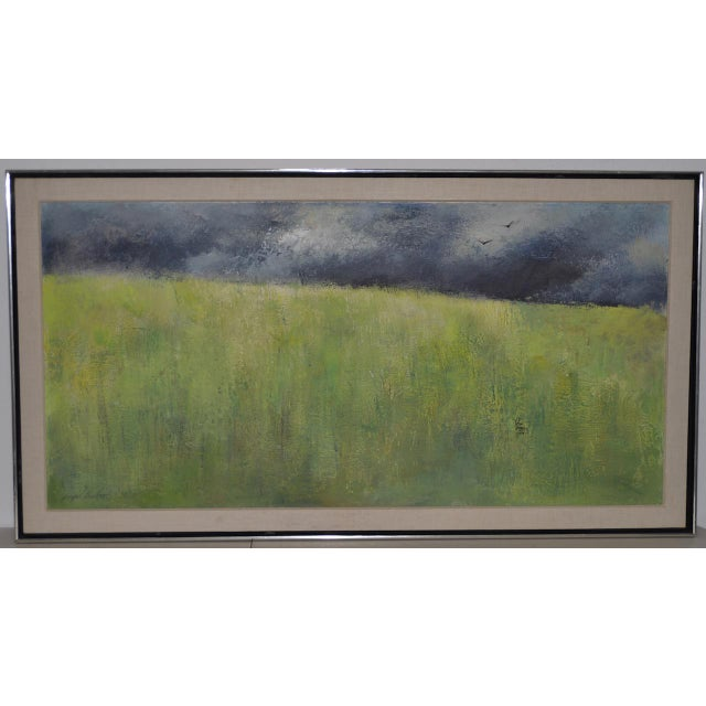 "Mid-Century Modern ""Wheatfield"" Oil Painting by Joseph Barber C.1960 For Sale - Image 11 of 11"