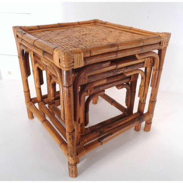 Mid Century Organic Modern Bamboo Side Nesting Tables For Sale - Image 4 of 11
