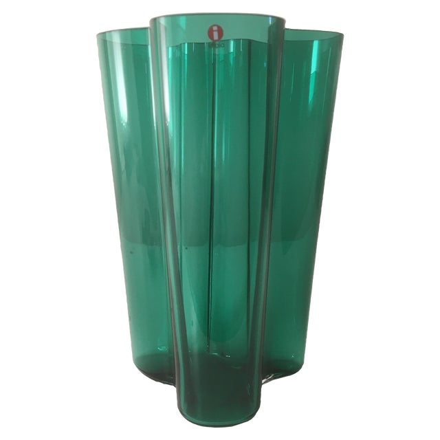 Iittala Emerald Green Glass Aalto Vase For Sale