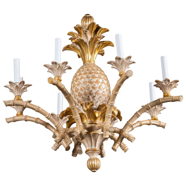 Italian Carved Wood Pineapple Chandelier For Sale