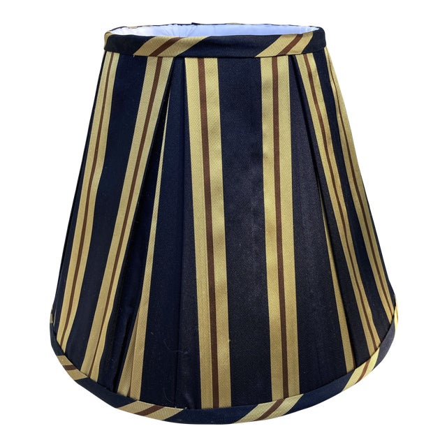 Vintage Pleated Striped Silk Lampshade For Sale