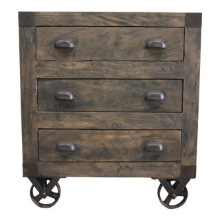 Wyatt Three Drawer Wooden Movable Chest For Sale
