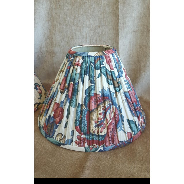 Vintage custom pleated patterned lampshades a pair chairish vintage custom pleated patterned lampshades a pair image 4 of 13 aloadofball Choice Image