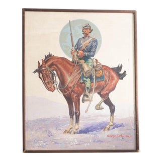 Early 20th Century Antique Marstars Us Cavalry Soldier Oil Painting For Sale